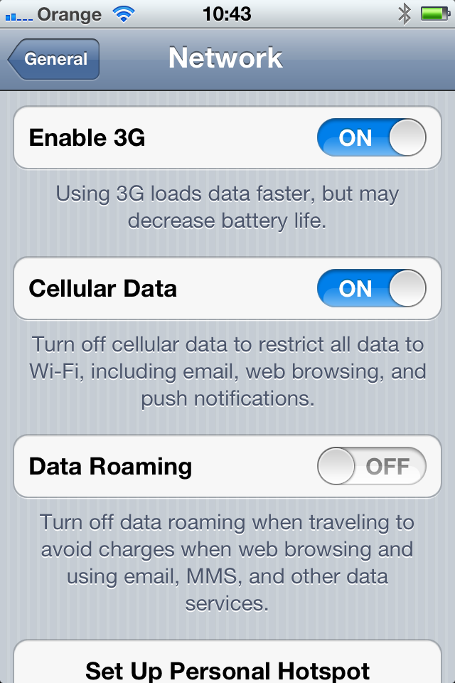 iPhone Network Settings